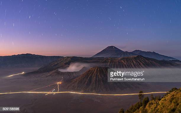 Startrails at Bromo volcano mountain
