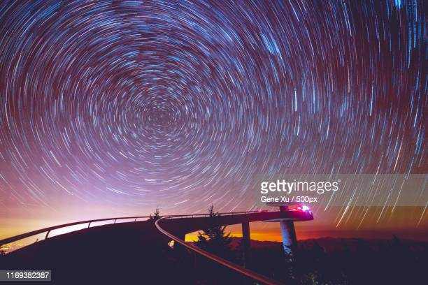 startrails at clingman's dome, smoky mountain np - clingman's dome stock photos and pictures