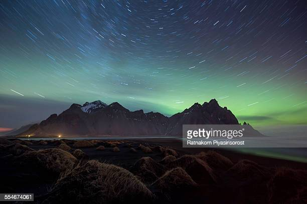 startrails at vestrahorn - north star stock photos and pictures