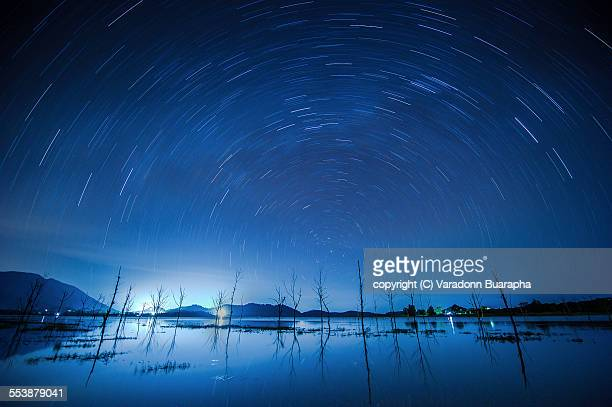 startrails over the lake and dead tree - north star stock photos and pictures