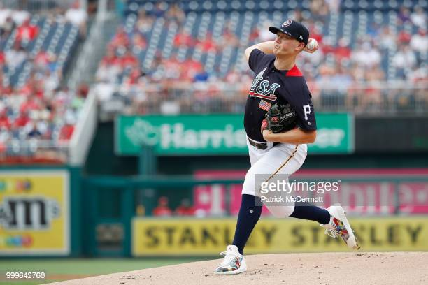 Startting pitcher Mitch Keller of the Pittsburgh Pirates and the US Team works the first inning against the World Team during the SiriusXM AllStar...