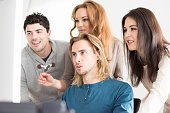 startup team together computer modern workplace