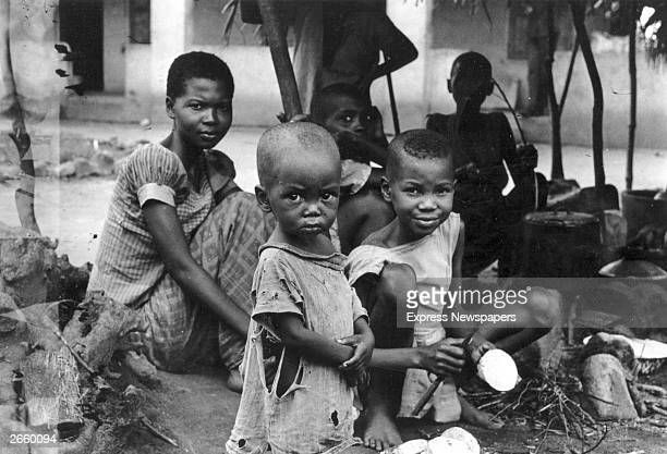 A starving Biafran family during the famine resulting from the Biafran War