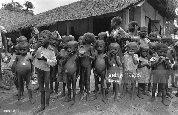 Starving children in a village in Nigeria Many show signs of kwashiorkor