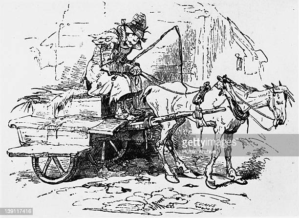 A starving Irish peasant on a cart pulled by an emaciated horse Ireland circa 1850