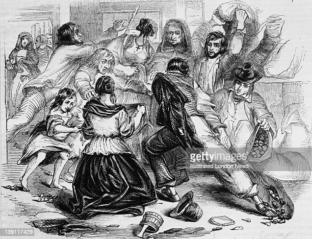 Starving townspeople raid a potato store in Galway during a famine Ireland 13th June 1842 Food riots occurred all day in the city Original...