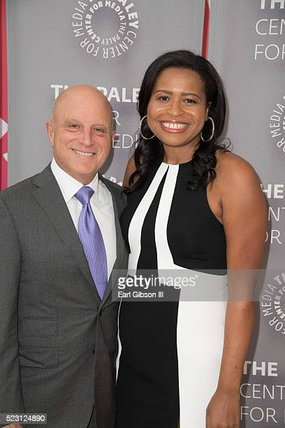 CEO Starz Chris Albrecht and Creator Showrunner Executive Producer Courtney A Kemp attend the Paley Center For Media Presents Chirs Albrecht and...
