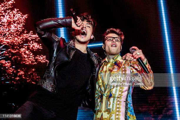 Stash of The Kolors and Fedez perform onstage at Mediolanum Forum on April 8, 2019 in Milan, Italy.