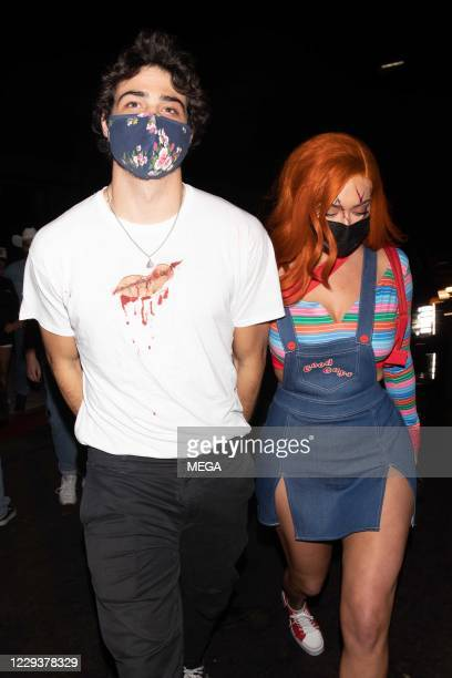 Stassie Karanikolaou & Noah Centineo seen Leaving Their Halloween Costume Party on October 30, 2020 in Los Angeles, California. (Photo by...
