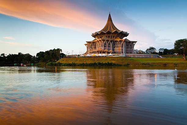 State Assembly Building and reflection in Sungai Sarawak.