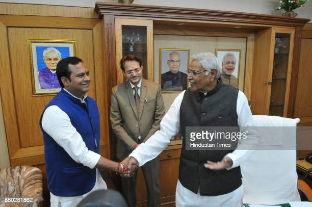 MP state assembly Speaker Sitasharan Sharma welcomes newly elected Congress MLA from Chitrakoot Neelanshu Chaturvedi on the first day of winter...