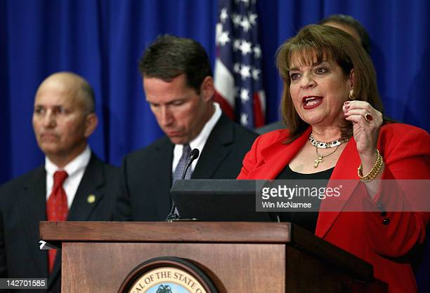 State Attorney Angela Corey holds a news conference on charges to be brought against defendant George Zimmerman in the Trayvon Martin shooting April...