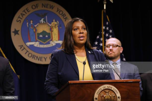 State Attorney General Letitia James announces a lawsuit against e-cigarette giant Juul on November 19, 2019 in New York City. James said that the...