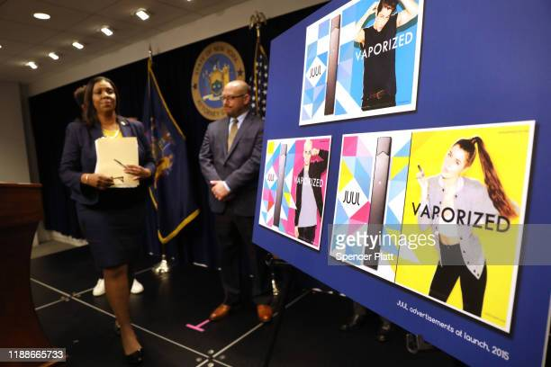 State Attorney General Letitia James leaves the podium after announcing a lawsuit against e-cigarette giant Juul on November 19, 2019 in New York...