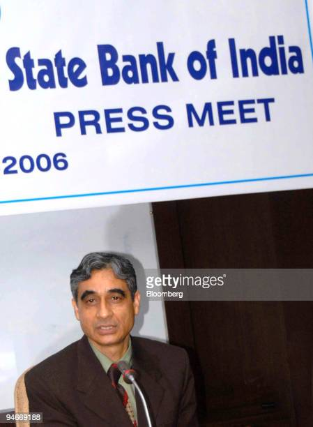State Bank of India's new Chairman Om Prakash Bhatt speaks to the media the first day he is taking charge in the bank's headquarters Mumbai India...