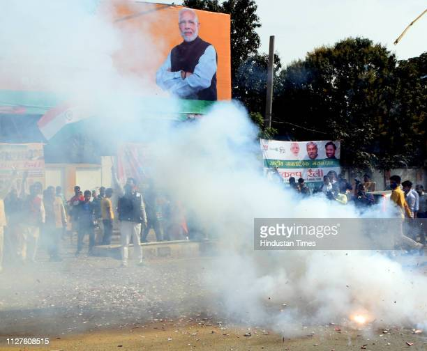 State BJP workers celebrate with crackers and apply colours after Indians airstrike on the JaisheMohammeds biggest camp in Pakistans Balakot town at...