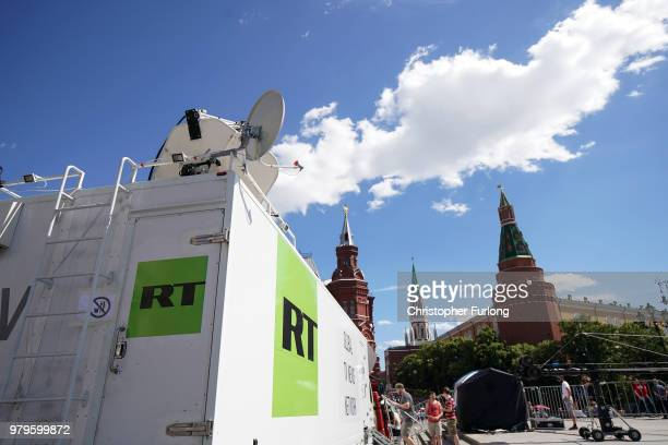 State broacaster Russia Today broadcasts from near Red Square during The World Cup on June 20 2018 in Moscow Russia Uruguay's 10 win over Saudi...
