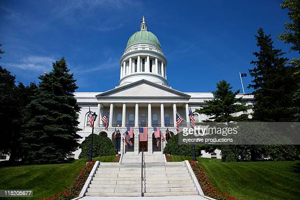 state capitol building - augusta maine - maine stock pictures, royalty-free photos & images