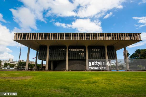 state capitol, honolulu, oahu, hawaii, usa - state stock pictures, royalty-free photos & images
