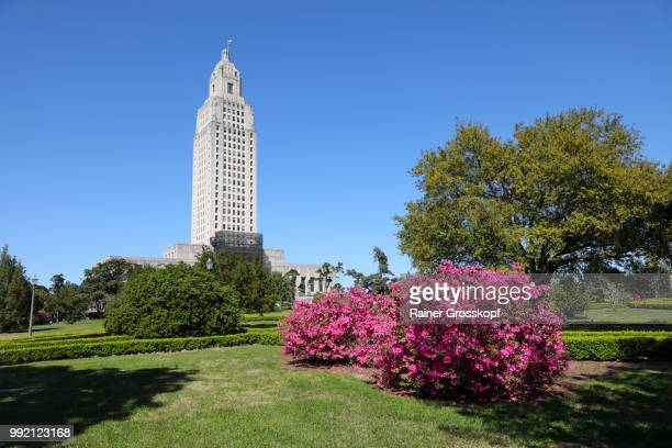 State Capitol of Louisiana with blooming azalea
