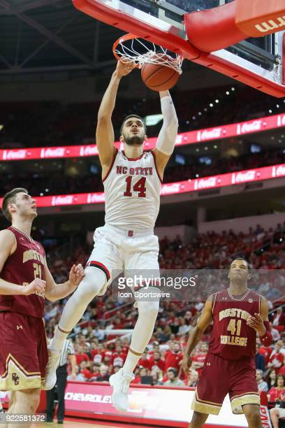 State center Omer Yurtseven dunks the ball during the game between the Boston College Eagles and the NC State Wolfpack at PNC Arena on February 20...