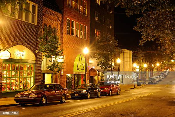 state college at night - state college pennsylvania stock photos and pictures
