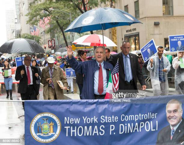 State Comptroller Thomas DiNapoli attends Columbus Day parade under rain along Fifth Avenue in Manhattan
