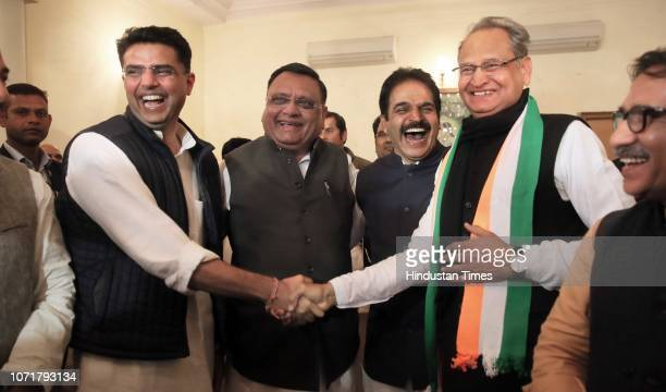 State Congress President Sachin Pilot and former CM Ashok Gehlot congratulate each other for victory of Congress party, along with party leaders...
