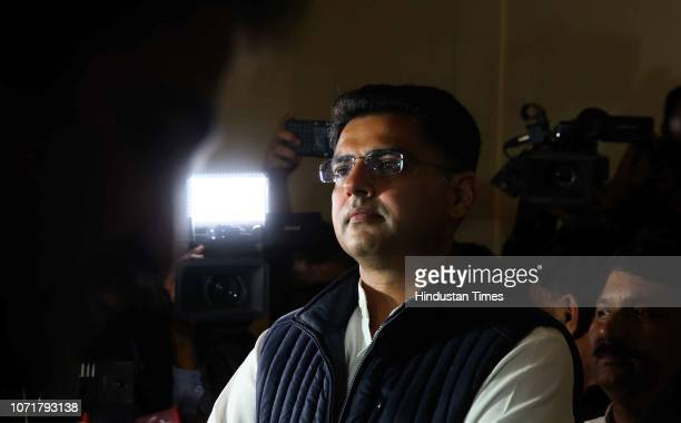 State Congress President Sachin Pilot before a press conference, on December 11, 2018 in Jaipur, India. As per trends and results, the Congress has...