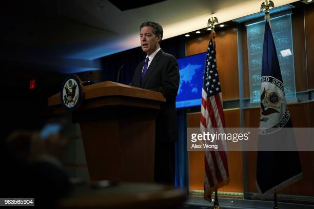 S State Department Ambassador at Large for International Religious Freedom Sam Brownback speaks during a press event at the State Department May 29...