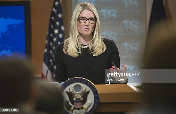 US State Department Deputy Spokesperson Marie Harf speaks about the killing of American journalist James Foley by Islamic militants as she holds the...