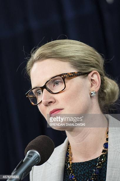 State Department Deputy Spokeswoman Marie Harf listens to questions during a briefing at the Washington Foreign Press Center July 24 2014 in...