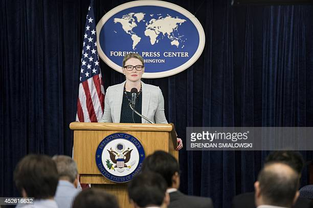 State Department Deputy Spokeswoman Marie Harf pauses while speakings during a briefing at the Washington Foreign Press Center July 24 2014 in...