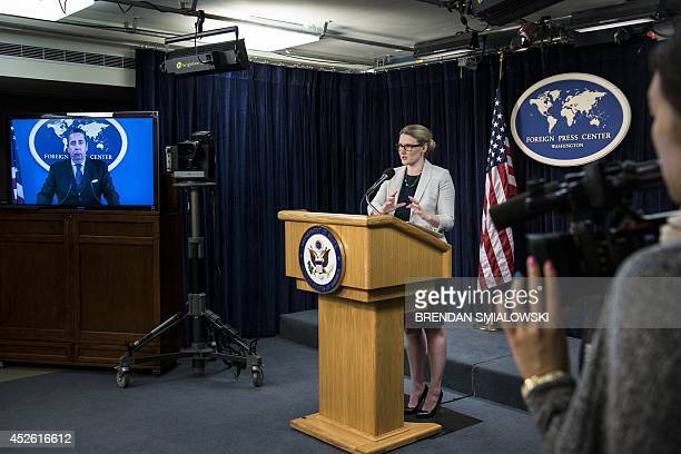 State Department Deputy Spokeswoman Marie Harf speaks during a briefing at the Washington Foreign Press Center July 24 2014 in Washington DC Harf...
