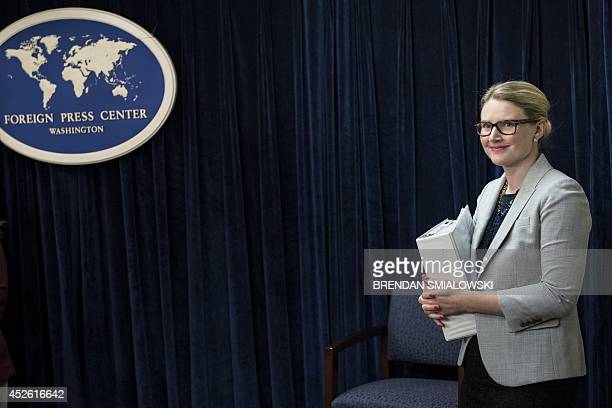 State Department Deputy Spokeswoman Marie Harf waits to speak during a briefing at the Washington Foreign Press Center July 24 2014 in Washington DC...