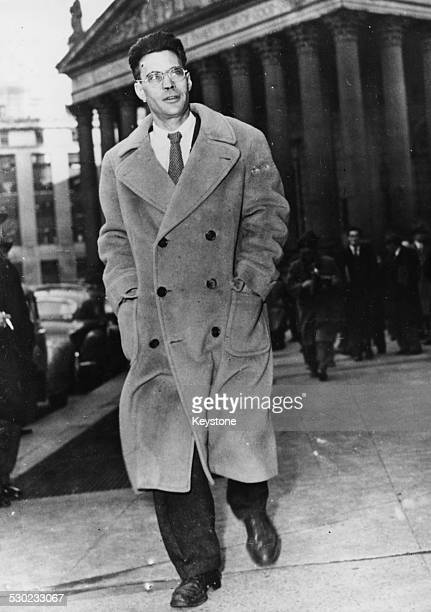 US State Department economist Henry Julian Wadleigh leaving a federal building before appearing in front of the Grand Jury accused of being a...