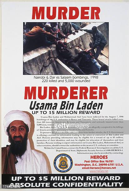 State Department Reward poster offering up to $5 million for information leading to the arrest or conviction of Usama Bin Laden is photographed June...