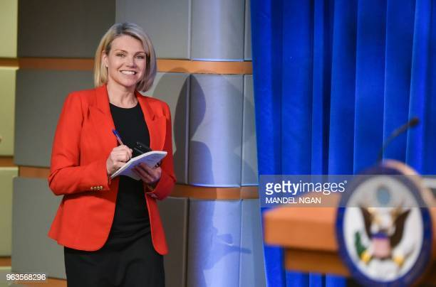US State Department spokesperson Heather Nauert arrives for the release of the 2017 Annual Report on International Religious Freedom on May 29 in the...