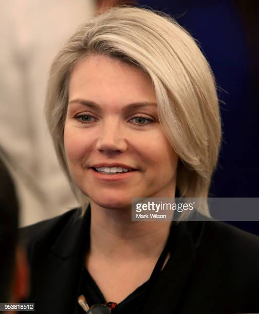 State Department spokesperson Heather Nauert attends a ceremonial swearing in for Secretary of State Mike Pompeo at the State Department on May 2...