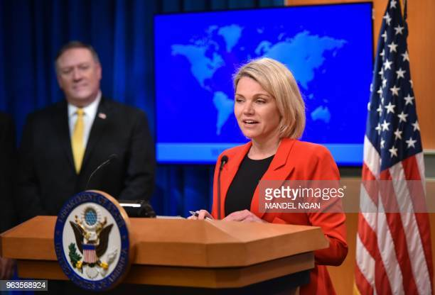 US State Department spokesperson Heather Nauert introduces Secretary of State Mike Pompeo during the release of the 2017 Annual Report on...