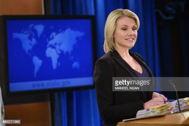 State Department Spokesperson Heather Nauert speaks during a briefing at the State Department in Washington DC on November 30 2017 / AFP PHOTO /...
