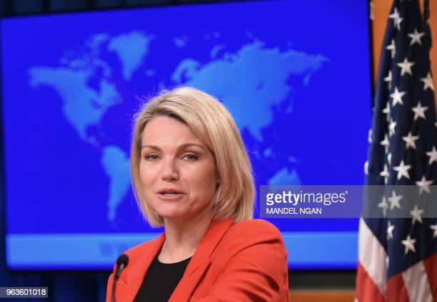 US State Department spokesperson Heather Nauert speaks during the release of the international religious freedom report at the State Department in...