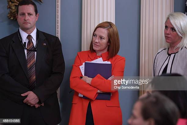 State Department Spokesperson Jen Psaki attends a joint news conference with European Union High Representative Lady Catherine Ashton and Secretary...