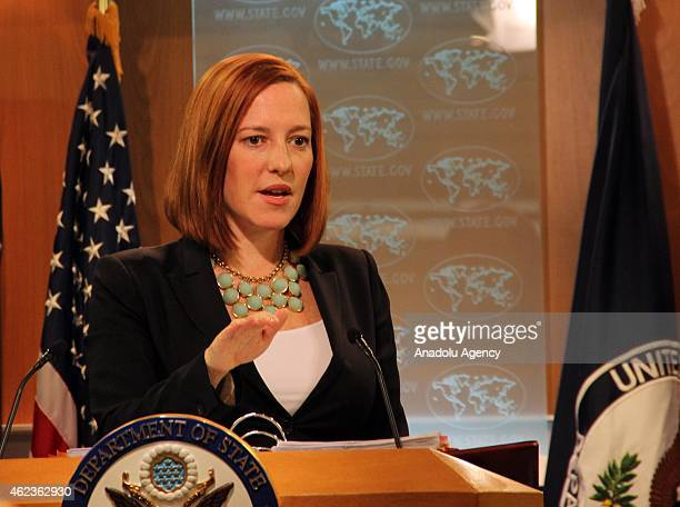State Department spokesperson Jen Psaki speaks to the press at a daily briefing in Washington, United States on January 27, 2015.