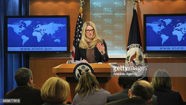 State Department Spokesperson Marie Harf answering the journalists during the daily press briefing