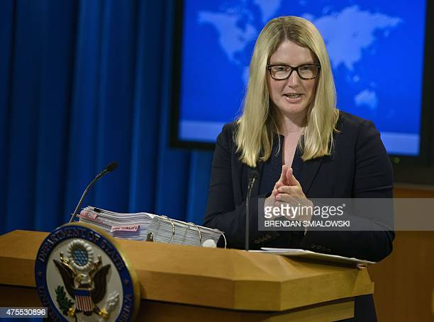 State Department spokesperson Marie Harf speaks during a press briefing at the US State Department June 1 2015 in Washington DC US Secretary of State...