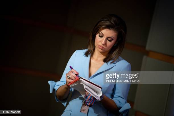 State Department Spokesperson Morgan Ortagus listens during a briefing at the US Department of State on April 17 in Washington DC A US law allowing...