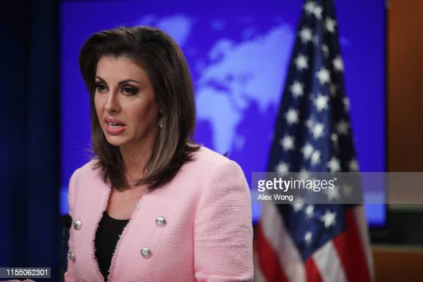 S State Department spokesperson Morgan Ortagus speaks during a media briefing at the State Department June 10 2019 in Washington DC Secretary of...