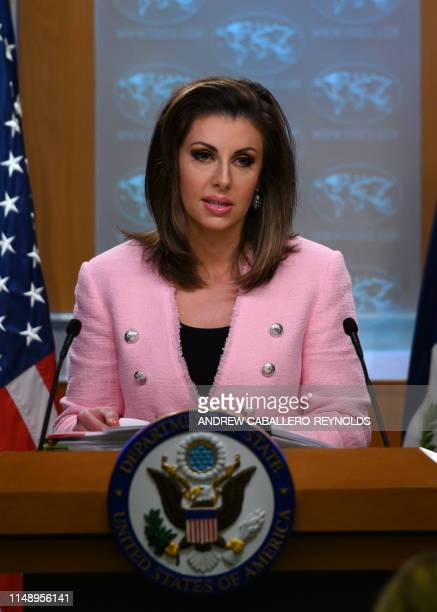 US State Department spokesperson Morgan Ortagus stands at the lectern during a press conference at the US Department of State in Washington DC on...