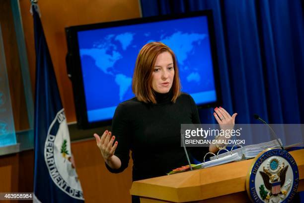 State Department spokeswoman Jen Psaki delivers a daily briefing at the US State Department February 20, 2015 in Washington, DC. Jen Psaki announced...